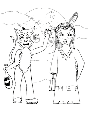 cat costume coloring page on fancy indian costumes