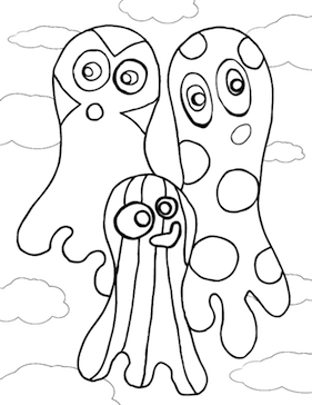 Ghosts Coloring Page