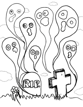 Ghosts Graveyard Coloring Page