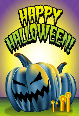 Halloween Blue Jack O Lantern Card