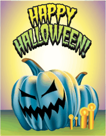Halloween Blue Jack O Lantern Small Card