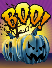 Halloween Boo Blue Pumpkins Small Card