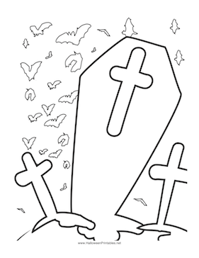 Halloween Graveyard Coloring Page