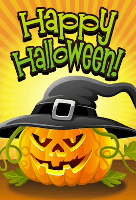 Halloween Jack O Lantern Witch Card