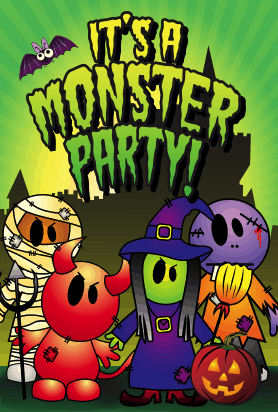 Halloween Monster Party Card