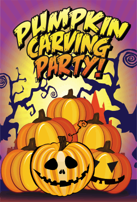 Halloween Pumpkin Carving Party Card
