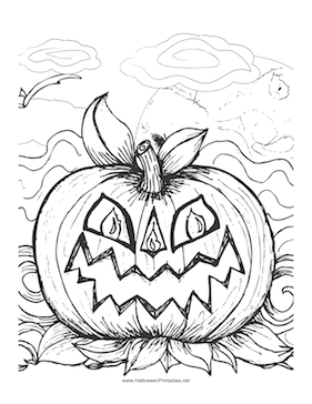 Halloween Scary Pumpkin Coloring Page