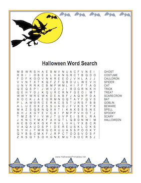 Halloween Witch Word Search