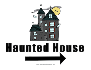 Haunted House Right Sign