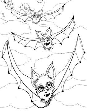 Three Flying Bats Coloring Page