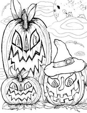 Three Jack O Lanterns Coloring Page