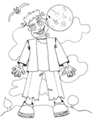 Frankenstein Moon Coloring Page